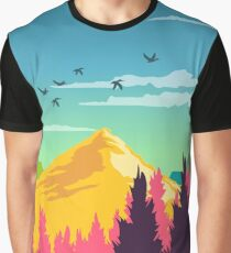 Colorful Nature Landscape : Mountain and Forest Scene with Happy Birds Graphic T-Shirt