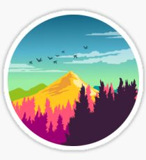Colorful Nature Landscape : Mountain and Forest Scene with Happy Birds Sticker