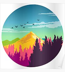 Colorful Nature Landscape : Mountain and Forest Scene with Happy Birds Poster