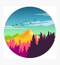 Colorful Nature Landscape : Mountain and Forest Scene with Happy Birds Photographic Print