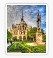 Notre Dame with Garden & Fountain Sticker
