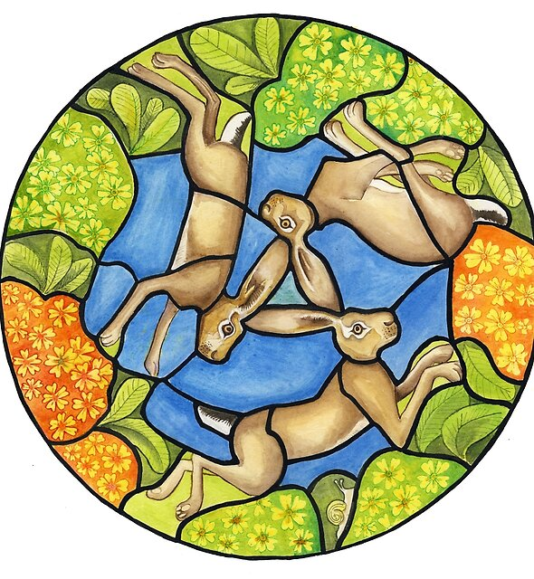 three hares (stained glass) by Dru Marland