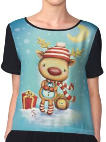 Reindeer and Hedgehog - Best Friends at Christmas Chiffon Top