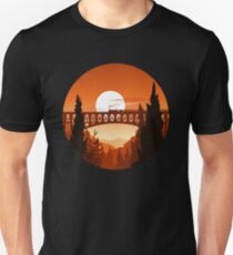 Retro Nature Graphic Illustration : Train Mountain with Oldschool Landscape Unisex T-Shirt