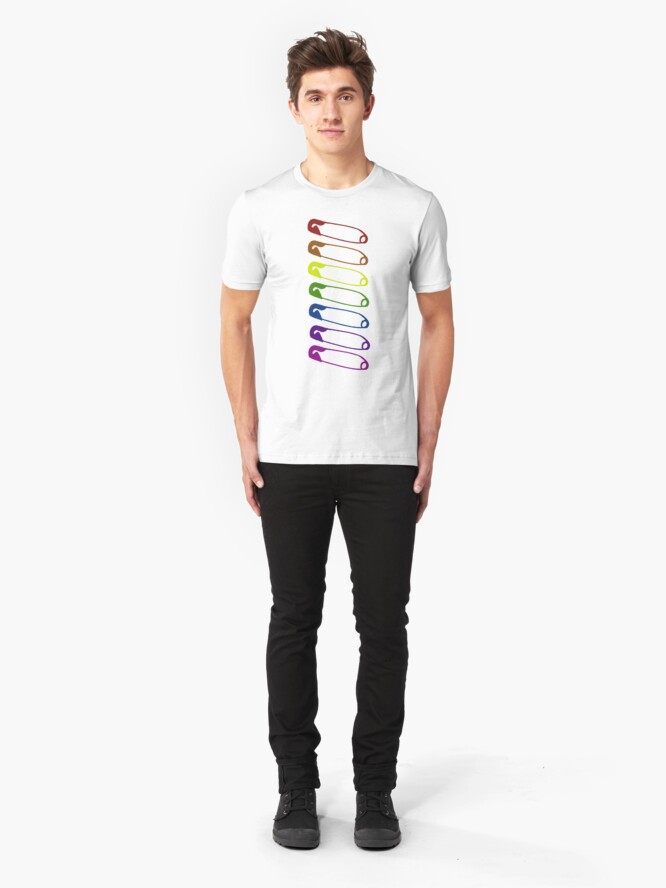 Alternate view of Safe with me rainbow safety pins Slim Fit T-Shirt