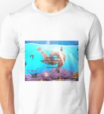 Motivational Giving Out Love Quote With Sea Lions Painting  T-Shirt