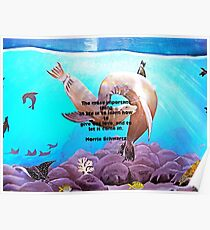 Motivational Giving Out Love Quote With Sea Lions Painting  Poster