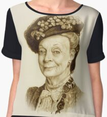 Downton Abbey, Maggie Smith Pencil Portrait, Sepia, Dowager Countess Chiffon Top