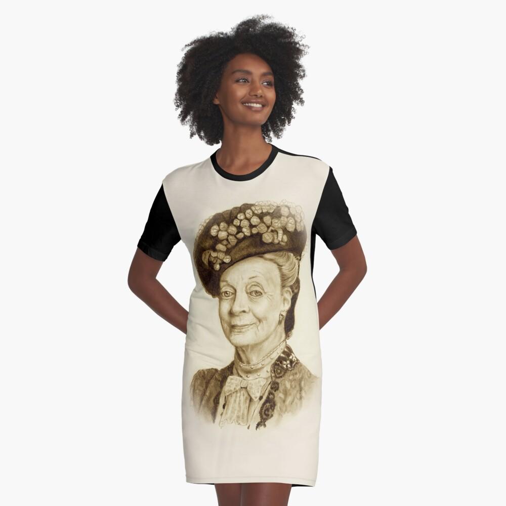 Downton Abbey, Maggie Smith Bleistift Porträt, Sepia, Witwe Gräfin T-Shirt Kleid