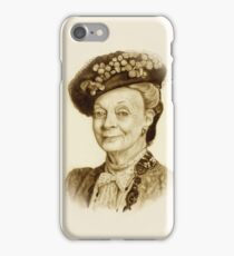 Downton Abbey, Maggie Smith Pencil Portrait, Sepia, Dowager Countess iPhone Case/Skin