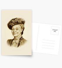 Downton Abbey, Maggie Smith Bleistift Porträt, Sepia, Witwe Gräfin Postkarten