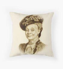 Downton Abbey, Maggie Smith Pencil Portrait, Sepia, Dowager Countess Throw Pillow