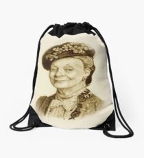 Downton Abbey, Maggie Smith Pencil Portrait, Sepia, Dowager Countess Drawstring Bag
