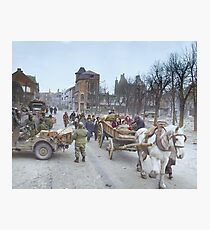 Refugees evacuating the Belgian town of Bastogne, 1944, colorized Photographic Print