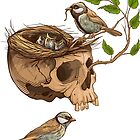 colorful illustration of birds making a nest in animal skull by Nadiiaz