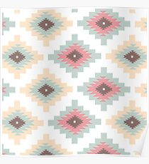 Tribal,native,pattern,boho,nature,teal,yellow,brown,white,red,modern,trendy Poster