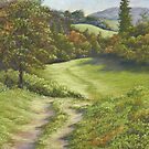Autumn Walk, Surrey Hills in Pastel by Fiona Cross
