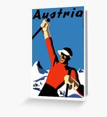 Vintage Austria Ski Travel Poster Greeting Card