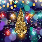 Glowing Christmas Lights Bokeh Golden Christmas Tree & Stars by moondreamsmusic