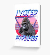 I VOTED HARAMBE Vintage T-shirt Greeting Card