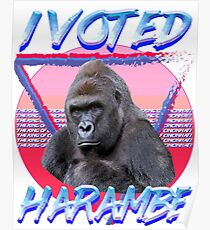 I VOTED HARAMBE Vintage T-shirt Poster
