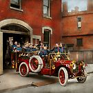 Fire Truck - The flying squadron 1911 by Mike  Savad