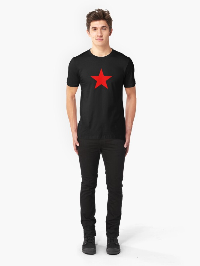 Alternate view of Five-pointed and Filled Red Star Design on Black/Dark Slim Fit T-Shirt