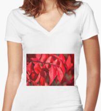 Burning Bush Women's Fitted V-Neck T-Shirt