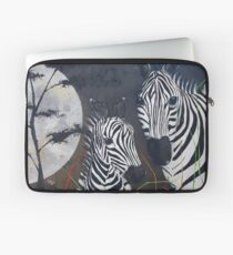 Zebras and a Really Big Moon Laptop Sleeve