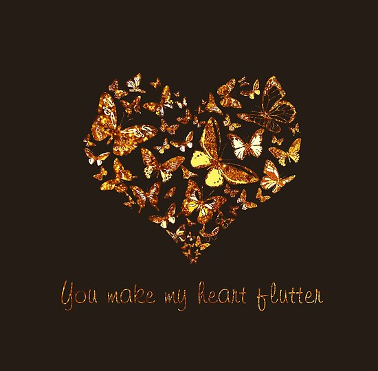 You Make My Heart Flutter (Dark Background) by Bamalam Art and Photography