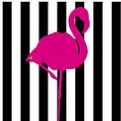 Pink Flamingo auf Schwarz-Weiß-Streifen von JCDesignsUK