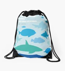 Sea Quote Design Drawstring Bag