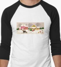 """Seasons Greetings Sunday Driver"" - Vintage Christmas Card, Time, Winter, Scene, Retro, Dog, Kids, Couple, Man, Woman, Snow, Wonderland, Snowy, Pink, Yellow, Tree, Old, Car, Model T T-Shirt"