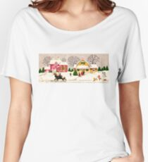 """""""Seasons Greetings Sunday Driver"""" - Vintage Christmas Card, Time, Winter, Scene, Retro, Dog, Kids, Couple, Man, Woman, Snow, Wonderland, Snowy, Pink, Yellow, Tree, Old, Car, Model T Women's Relaxed Fit T-Shirt"""
