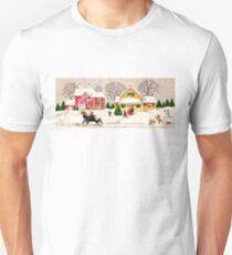 """Seasons Greetings Sunday Driver"" - Vintage Christmas Card, Time, Winter, Scene, Retro, Dog, Kids, Couple, Man, Woman, Snow, Wonderland, Snowy, Pink, Yellow, Tree, Old, Car, Model T Unisex T-Shirt"