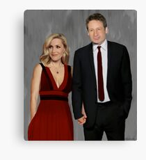 Gillian Anderson and David Duchovny attend Emmy Awards 2017 Canvas Print