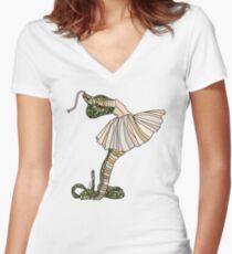 Snake Ballerina Tutu Women's Fitted V-Neck T-Shirt