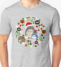 Christmas Totoro in Lighter Grey - Holiday, Xmas, Presents, Peppermint, Candy Cane, Mistletoe, Snowflake, Poinsettia, Anime, Catbus, Soot Sprite, Blue, White, Manga, Hayao Miyazaki, Studio Ghibl T-Shirt