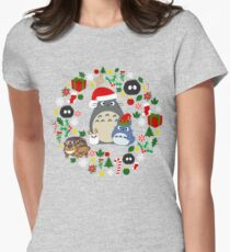 Christmas Totoro in Lighter Grey - Holiday, Xmas, Presents, Peppermint, Candy Cane, Mistletoe, Snowflake, Poinsettia, Anime, Catbus, Soot Sprite, Blue, White, Manga, Hayao Miyazaki, Studio Ghibl Womens Fitted T-Shirt