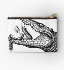Crocodile Reading surreal pen ink black and white drawing Studio Pouch