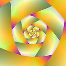 Yellow Pink and Green Spiral by Objowl