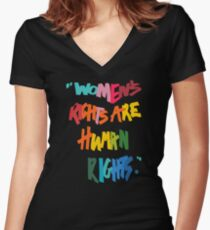 Women's Rights Are Human Rights - Anti-Trump Women's Fitted V-Neck T-Shirt