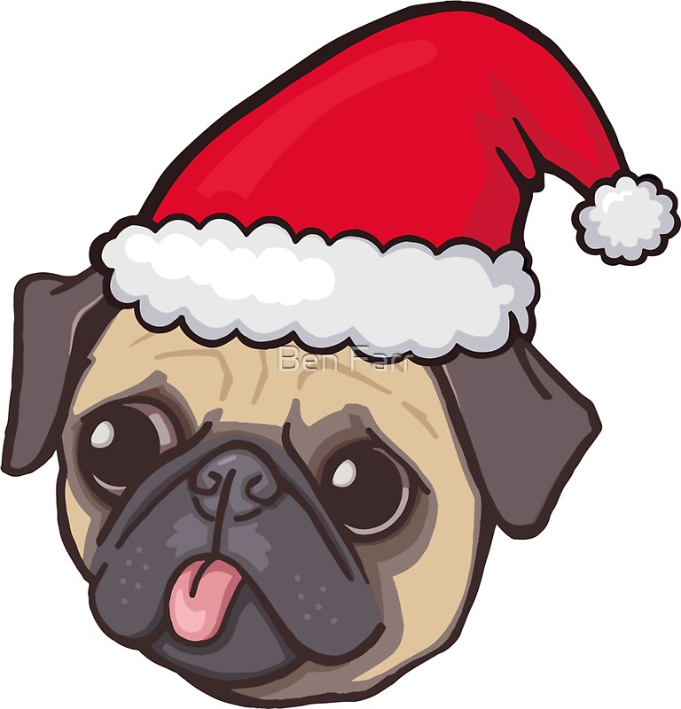 """Christmas Pug (red)"" Stickers by Ben Farr 