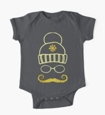 Vector Set Christmas Calligraphic Design Elements and Page Decoration, hat glasses and mustache hipster with golden texture One Piece - Short Sleeve