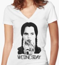 Wednesday Addams | The Addams Family Women's Fitted V-Neck T-Shirt