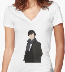 Sherlock Vector Women's Fitted V-Neck T-Shirt