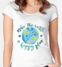 Make the World a Happy Place Women's Fitted Scoop T-Shirt