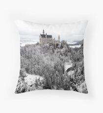 Neuschwanstein Castle in the snow Throw Pillow