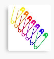 Rainbow Safety Pins Canvas Print