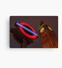 Big Ben & Underground Sign Canvas Print